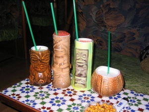 Drinks in tiki mugs at Kahiki in Barcelona