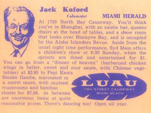 Back of a postcard, with a blurb from the Miami Herald, from Luau in Miami Beach