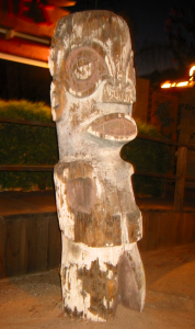 Tiki in front of Minnie's in Modesto