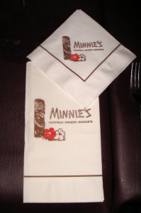 Dinner and cocktail napkins from Minnie's in Modesto