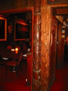 Tiki in bar area at Minnie's in Modesto