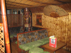 One of many private booths at Aloha Polinesian Bar in Barcelona