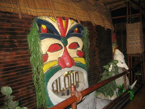 Tiki next to bridge at Aloha Polinesian Bar in Barcelona