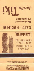 Matchbook from Jardin Tiki in Montreal