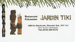 Business card from Jardin Tiki in Montreal