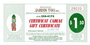 Coupons to use for a return visit to Jardin Tiki in Montreal
