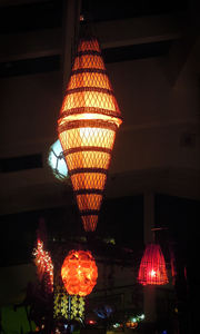 Lights in the main dining room at Jardin Tiki in Montreal