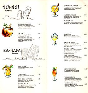 Drink menu from Kon-Tiki in Montreal