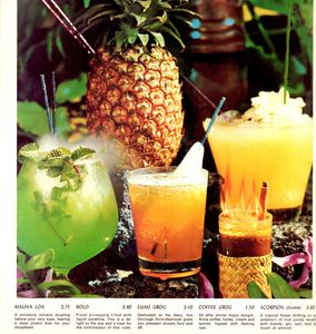Centerfold of drink menu from Kon-Tiki in Montreal