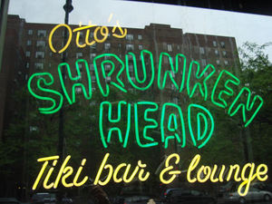 Neon sign for Otto's Shrunken Head in New York