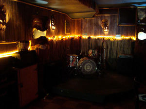Back room at Otto's Shrunken Head in New York