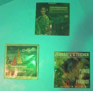 Albums in the ladies' room at Otto's Shrunken Head in New York