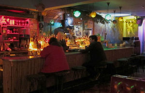 The bar at Otto's Shrunken Head in New York