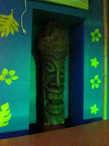 A tiki from Mai Tiki at Otto's Shrunken Head in New York
