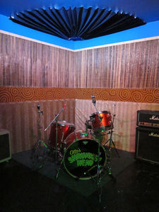The stage in the back room at Otto's Shrunken Head in New York