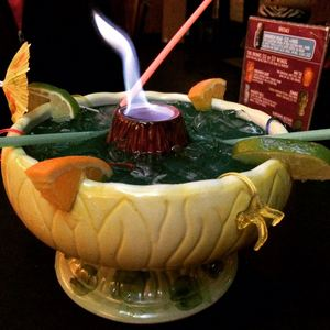 Flaming Bowl at Otto's Shrunken Head in New York
