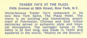 Back of a postcard from Trader Vic's in New York