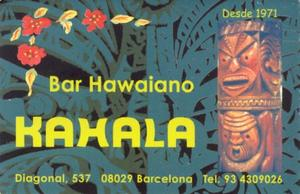 Business card from Kahala in Barcelona