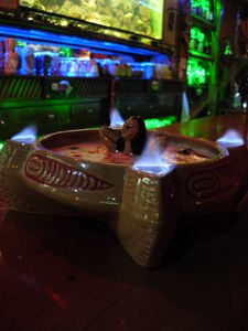 Flaming bowl drink at Kahala in Barcelona