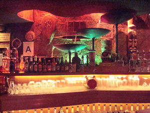 Fountain behind the bar at Tonga Hut in North Hollywood