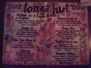 Drink menu at Tonga Hut in North Hollywood