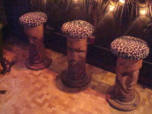 Carved tiki bar stools at Tonga Hut in North Hollywood