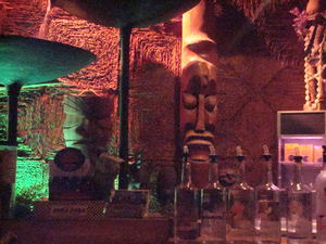 Tikis behind the bar at Tonga Hut in North Hollywood