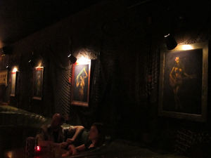 Booths and velvet paintings at Tonga Hut in North Hollywood