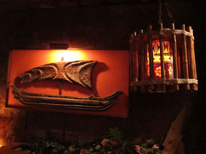 Witco ship artwork and lamp at Tonga Hut in North Hollywood