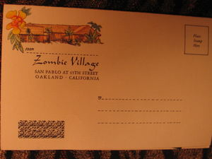 Souvenir menu mailer from Zombie Village in Oakland