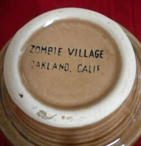 Underside of an earring mug from Zombie Village in Oakland