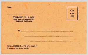 Menu postcard from Zombie Village in Oakland