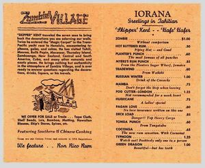 Interior of a menu postcard from Zombie Village in Oakland