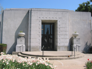 West entrance to the Mountain View Mausoleum; you'll find Trader Vic just inside this door