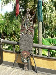 Shield at Adventureland entrance at The Enchanted Tiki Room in Orlando