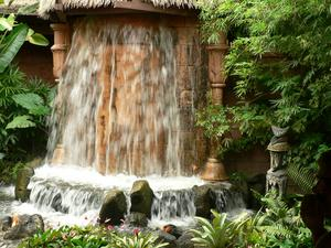 Pre-show lanai waterfall at The Enchanted Tiki Room in Orlando