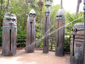 Water-spitting drum tikis outside the Enchanted Tiki Room in Orlando