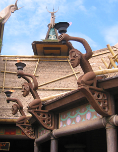 Detail of the roof of the Enchanted Tiki Room in Orlando
