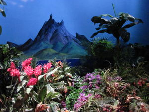 "Volcano diorama in a ""window"" at The Enchanted Tiki Room in Anaheim"