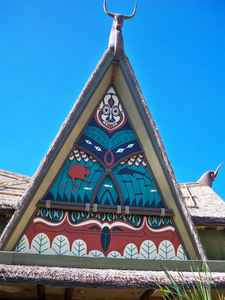 A-frame roof (the Asian water buffalo appear to be Western longhorn if viewed from the rear in neighboring Frontierland) at The Enchanted Tiki Room in Orlando