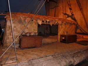 Shelter structure on the Kon-Tiki raft at Kon-Tiki Museum in Oslo
