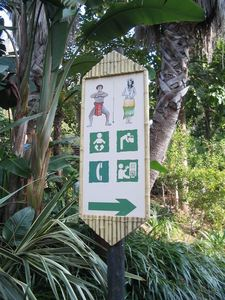 Sign pointing to Polynesian Village at Port Aventura in Barcelona