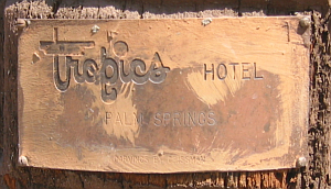 Plaque on one of the older tikis at Caliente Tropics Resort