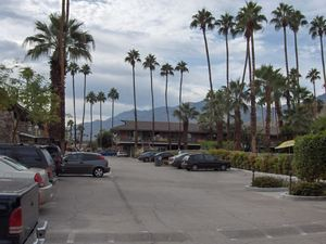 From A-frame entrance looking into the hotel at Caliente Tropics Resort in Palm Springs