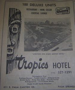 Phone book ad for the Tropics Hotel, from the Palm Springs Public Library