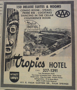 Phone book ad for the Tropics Hotel in Palm Springs