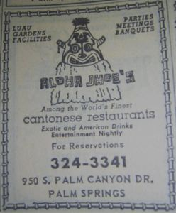 Phone book ad for Aloha Jhoe's, from the Palm Springs Public Library