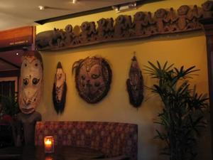 Tiki and masks at Trader Vic's in Palo Alto
