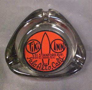 Glass ashtray from Tiki Inn Motel in Palo Alto