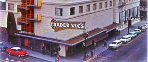 Detail of a postcard showing the sign for Trader Vic's in Portland